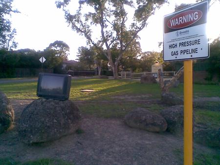 A TV on a rock in Watsonia